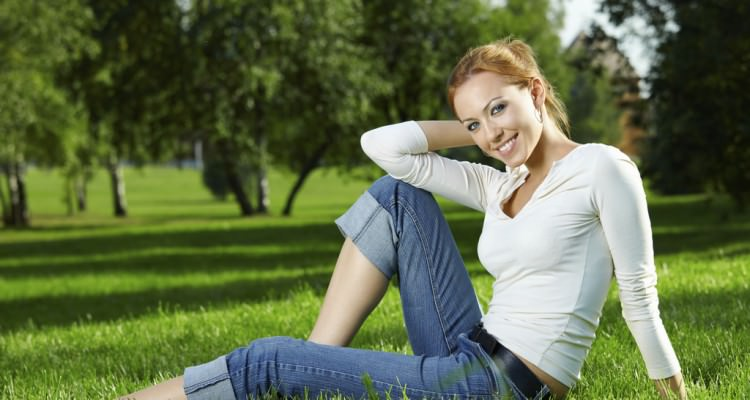 Girl on a lawn